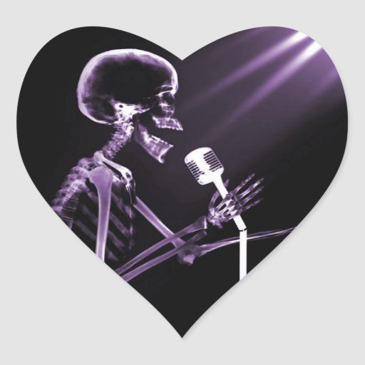 X-RAY VISION SKELETON SINGING ON RETRO MIC PURPLE HEART STICKER