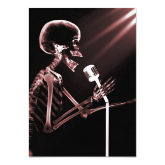 X-RAY VISION SKELETON SINGING ON RETRO MIC - RED 4.5X6.25 PAPER INVITATION CARD