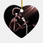 X-RAY VISION SKELETON SINGING ON RETRO MIC - RED CHRISTMAS TREE ORNAMENT
