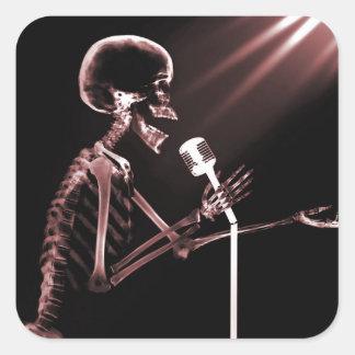 X-RAY VISION SKELETON SINGING ON RETRO MIC - RED SQUARE STICKER