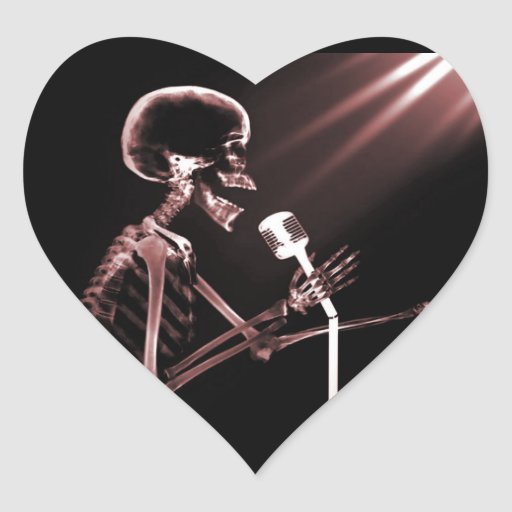 X-RAY VISION SKELETON SINGING ON RETRO MIC - RED STICKER