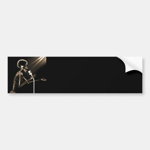 X-RAY VISION SKELETON SINGING ON RETRO MIC - SEPIA BUMPER STICKER