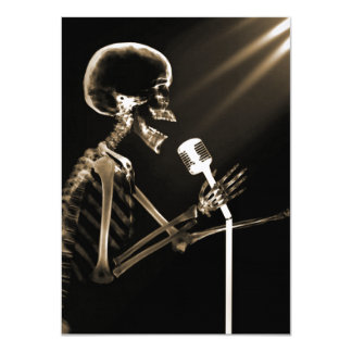X-RAY VISION SKELETON SINGING ON RETRO MIC - SEPIA CARD