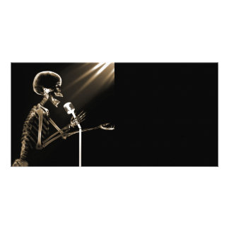 X-RAY VISION SKELETON SINGING ON RETRO MIC - SEPIA PERSONALIZED PHOTO CARD