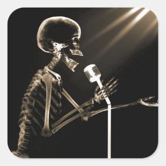 X-RAY VISION SKELETON SINGING ON RETRO MIC - SEPIA SQUARE STICKER
