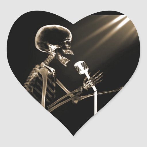 X-RAY VISION SKELETON SINGING ON RETRO MIC - SEPIA HEART STICKERS