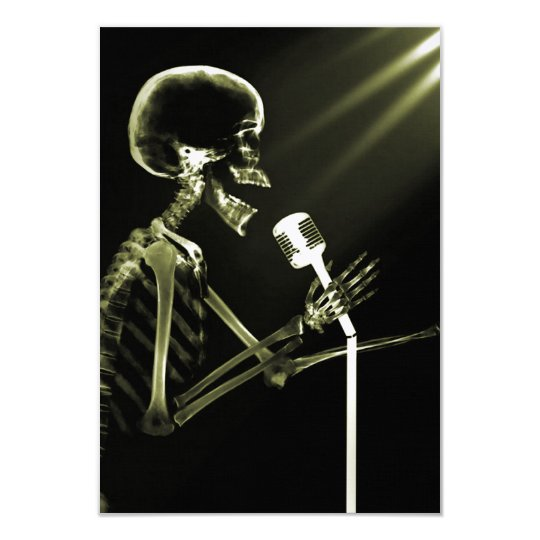 X-RAY VISION SKELETON SINGING ON RETRO MIC YELLOW CARD