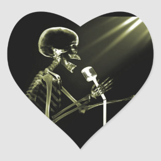 X-RAY VISION SKELETON SINGING ON RETRO MIC YELLOW HEART STICKER