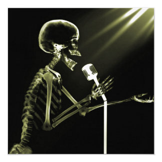 X-RAY VISION SKELETON SINGING ON RETRO MIC YELLOW 5.25X5.25 SQUARE PAPER INVITATION CARD
