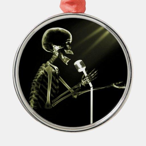 X-RAY VISION SKELETON SINGING ON RETRO MIC YELLOW ROUND METAL CHRISTMAS ORNAMENT