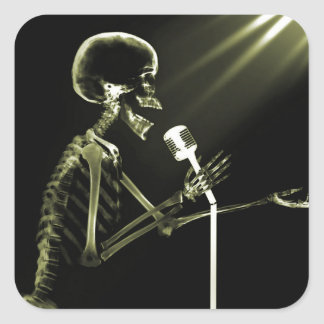 X-RAY VISION SKELETON SINGING ON RETRO MIC YELLOW SQUARE STICKER
