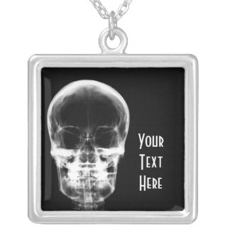 X-RAY VISION SKELETON SKULL - B&W SILVER PLATED NECKLACE