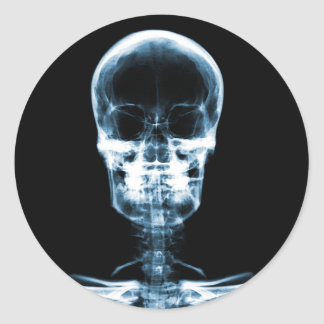 X-RAY VISION SKELETON SKULL - BLUE CLASSIC ROUND STICKER
