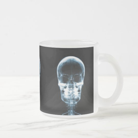 X-RAY VISION SKELETON SKULL - BLUE FROSTED GLASS COFFEE MUG