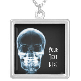 X-RAY VISION SKELETON SKULL - BLUE SILVER PLATED NECKLACE