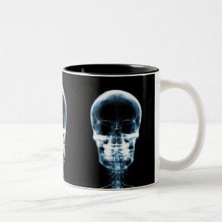 X-RAY VISION SKELETON SKULL - BLUE Two-Tone COFFEE MUG