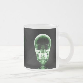 X-RAY VISION SKELETON SKULL - GREEN FROSTED GLASS COFFEE MUG