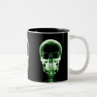 X-RAY VISION SKELETON SKULL - GREEN Two-Tone COFFEE MUG