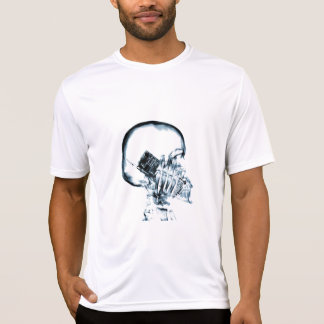X-RAY VISION SKELETON SKULL ON PHONE - BLUE T-SHIRTS