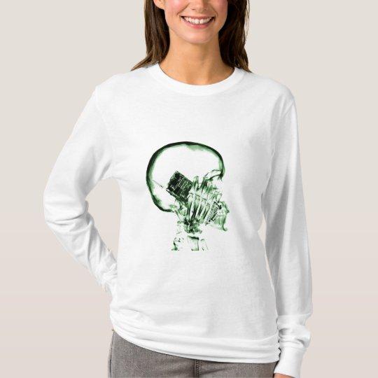 X-RAY VISION SKELETON SKULL ON PHONE - GREEN T-Shirt