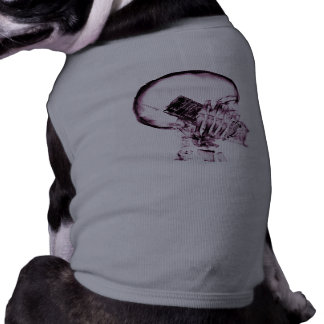 X-RAY VISION SKELETON SKULL ON PHONE - PINK DOG T-SHIRT