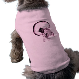 X-RAY VISION SKELETON SKULL ON PHONE - PINK DOGGIE SHIRT