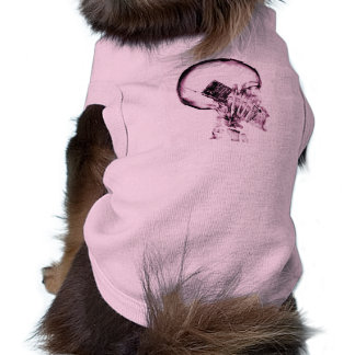 X-RAY VISION SKELETON SKULL ON PHONE - PINK DOGGIE TEE