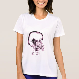 X-RAY VISION SKELETON SKULL ON PHONE - PINK T-SHIRT