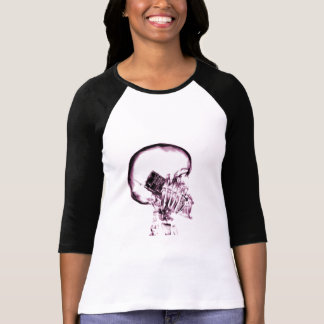 X-RAY VISION SKELETON SKULL ON PHONE - PINK T-Shirt
