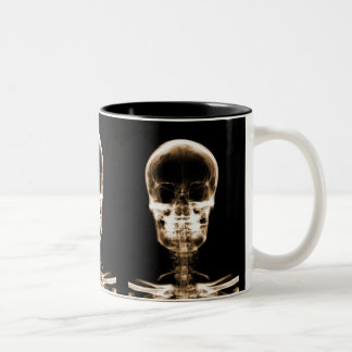 X-RAY VISION SKELETON SKULL - ORANGE Two-Tone COFFEE MUG