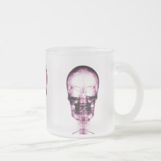 X-RAY VISION SKELETON SKULL - PINK FROSTED GLASS COFFEE MUG