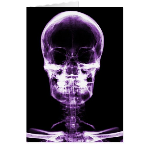 X-RAY VISION SKELETON SKULL PURPLE CARDS