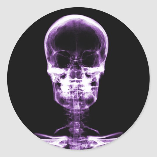 X-RAY VISION SKELETON SKULL - PURPLE CLASSIC ROUND STICKER