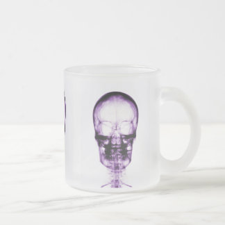 X-RAY VISION SKELETON SKULL - PURPLE FROSTED GLASS COFFEE MUG
