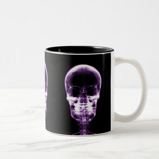 X-RAY VISION SKELETON SKULL - PURPLE Two-Tone COFFEE MUG