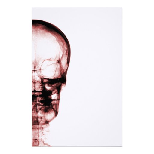 X-RAY VISION SKELETON SKULL - RED PERSONALIZED STATIONERY