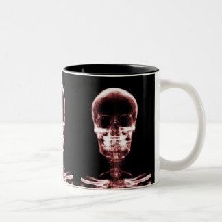 X-RAY VISION SKELETON SKULL - RED Two-Tone COFFEE MUG
