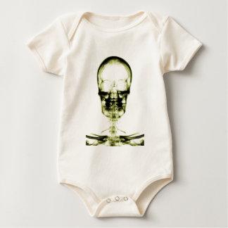 X-RAY VISION SKELETON SKULL - YELLOW BABY BODYSUIT