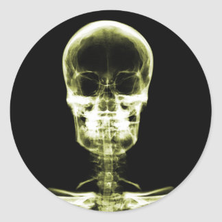 X-RAY VISION SKELETON SKULL - YELLOW CLASSIC ROUND STICKER