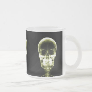 X-RAY VISION SKELETON SKULL - YELLOW FROSTED GLASS COFFEE MUG