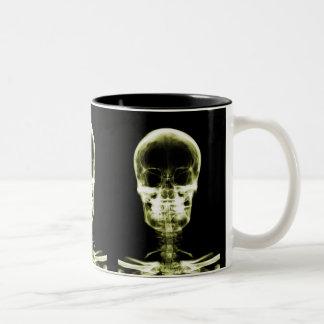 X-RAY VISION SKELETON SKULL - YELLOW Two-Tone COFFEE MUG