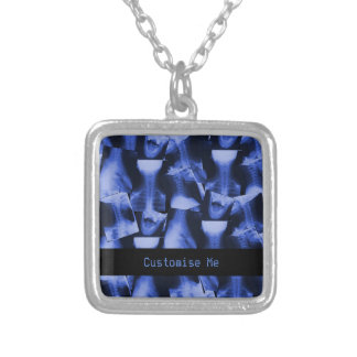 X-Rayed Electromagnetic Blue Square Pendant Necklace