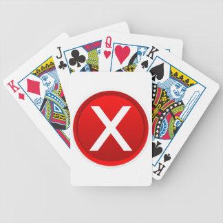 X rojo - Ningún - símbolo Baraja De Cartas