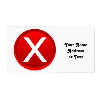 X rojo - Ningún - símbolo Etiqueta De Envío