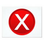 X rojo - Ningún/símbolo incorrecto Comunicados