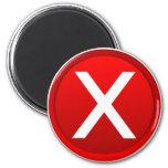 X rojo - Ningún/símbolo incorrecto Imán De Nevera