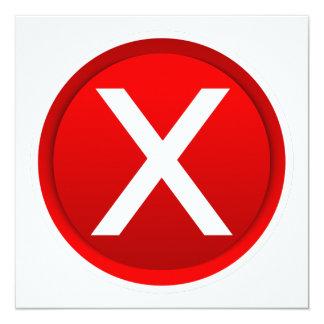 """X rojo - Ningún/símbolo incorrecto Invitación 5.25"""" X 5.25"""""""