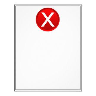 X rojo - Ningún/símbolo incorrecto Membrete Personalizado