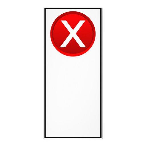 X rojo - Ningún/símbolo incorrecto Diseño De Tarjeta Publicitaria