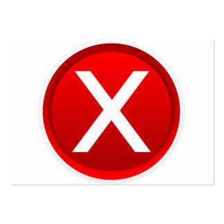 X rojo - Ningún/símbolo incorrecto Tarjetas De Visita Grandes